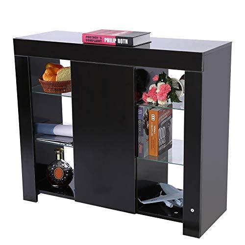 Ejoyous Aparador Moderno, Mueble de almacenaje Aparador Moderno aparador de Alto Brillo con Luces LED RGBW y Mando a Distancia para salón y Oficina 97,5 x 35 x 83,5 cm(Marco Negro Cara Negra)