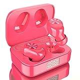 Amazon Brand – Eono Auriculares de botón inalámbricos Eonobuds 1 con Bluetooth, Sonido nítido,IPX7 de impermeabilidad,Carga USB-C,Auriculares Bluetooth en la Oreja para el Trabajo(Rosa)