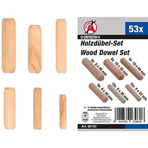 Kraftmann 88162 | Holzdübel-Sortiment | Ø 5 - 10 mm | 53-tlg.