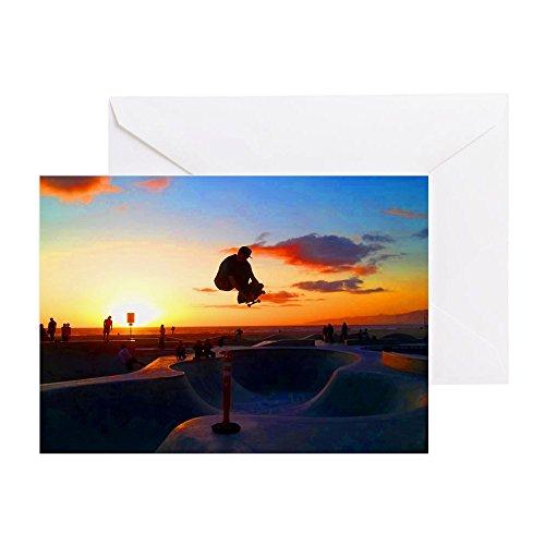 CafePress–Skateboard Sunset–Grußkarte, Note Karte, Geburtstagskarte, innen blanko, glänzend