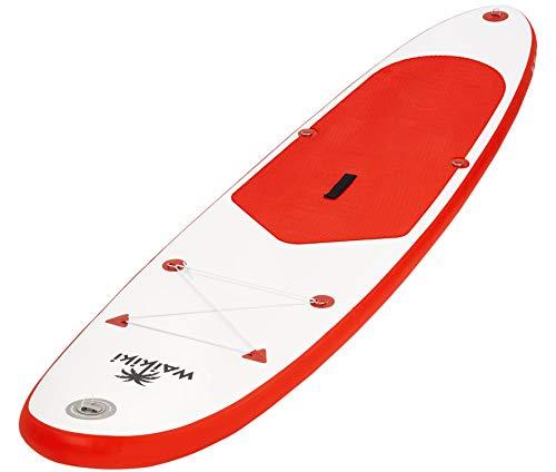 Waikiki SUP   Stand Up Board   285 x 71 x 10 cm   Tragkraft: 100 kg   inkl. Handpumpe, Fußleine und Reparaturset (rot)