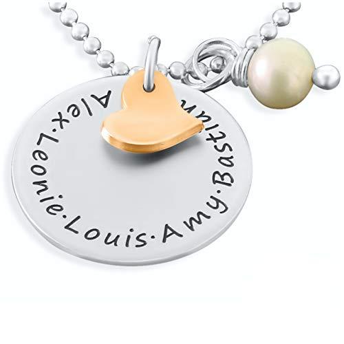 Personalisierter Schmuck ❤️ Namenskette 925 Silber ❤️ Kette mit Gravur Familienkette mit Namen Schmuck mit Herz Silberschmuck personalsiert   HANDMADE IN GERMANY