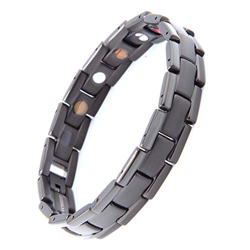 Titanium Germanium Magnetic Bracelet for Men HAQI(はち) Help Blood Circulation with Remove Tool & Gift Box Best Choice for Christmas Gifts(Black)
