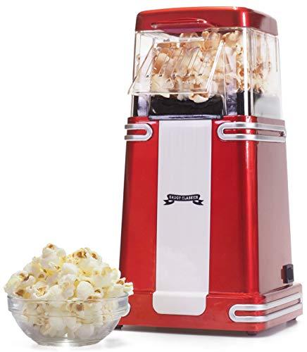 Gadgy ® Popcorn Machine | Retro Macchina Pop Corn Compatta | Aria Calda Senza Olio Grasso l Edizione Rossa Retrò