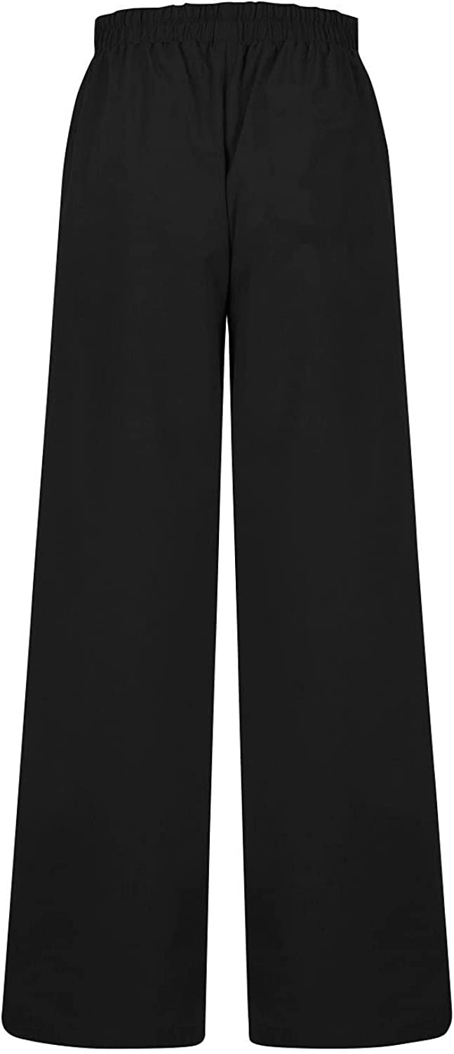 BZSHBS High Waist Linen Pants for Women Elastic Waist Slim Straight Leg Pants Casual Trousers with Pockets