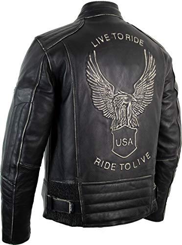 Motorrad Lederjacke mit einer Adler Prägung - 3