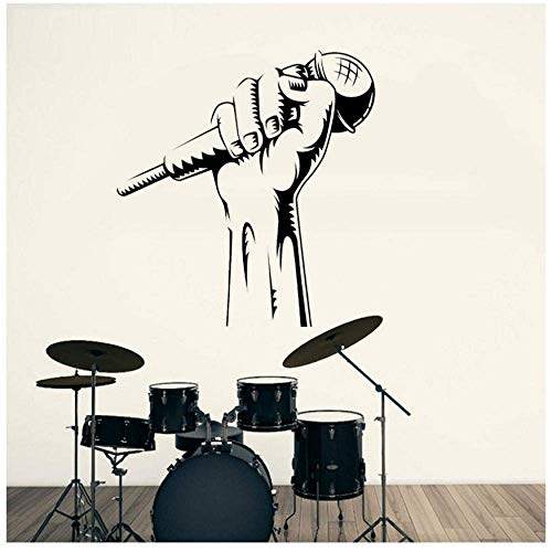 Micrófono De Mano Karaoke Club Rap Battle Singer Music Host Etiqueta De La Pared Vinilo Decoración De Interiores Tatuajes De Ventana Murales 57X61Cm