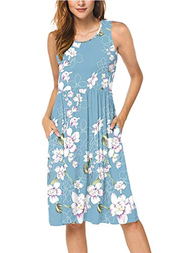 OURS Women Flower Print Sleeveless Pocket Pleated Dress Plus Size XXL Light Blue