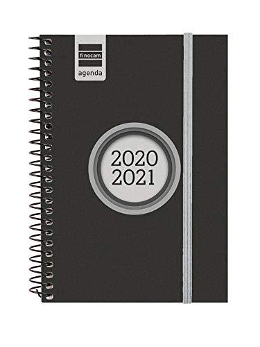 Finocam - Agenda Curso 2020-2021 E8, 120 x 171 Semana Vista Apaisada Espir Label, Negro, Español