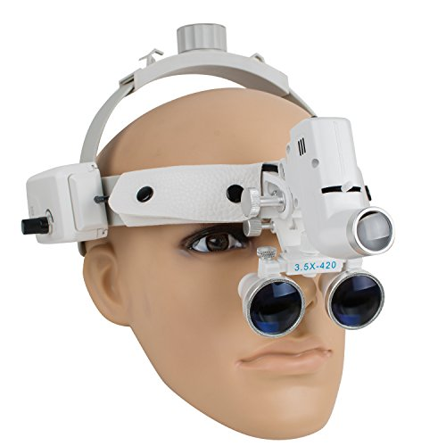 Dental Loupes with LED Light Binocular Glasses Magnifier with Soft Head Band Adjustable Light 3.5X-420