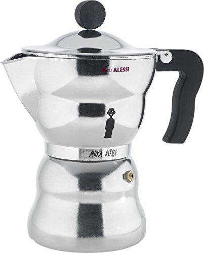 Alessi AAM33/6'Moka' Stove Top Espresso 6 Cup Coffee Maker in Aluminium Casting Handle And Knob in Thermoplastic Resin, Black
