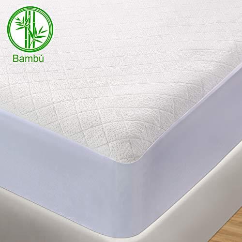 BedStory Protector de Colchón Impermeable, Cubre Colchón Fibra de Bambú, Transpirable, Hipoalergénico, Silencioso, Anti-Ácaros, Antibacteriano 90x190/200cm