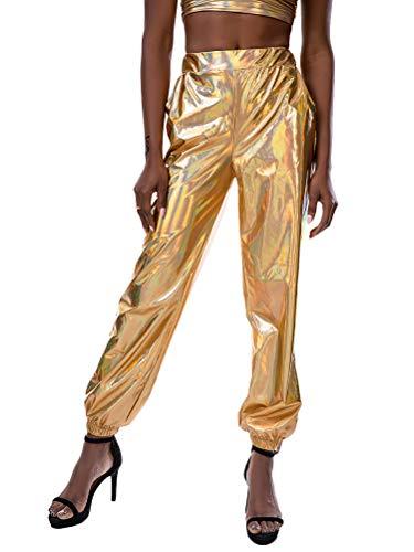 Tomwell Damen Hosen Sporthose Lose Casual Glänzende Illusion Sweathose Elastischer Bund Jogginghose mit Taschen Gold Small