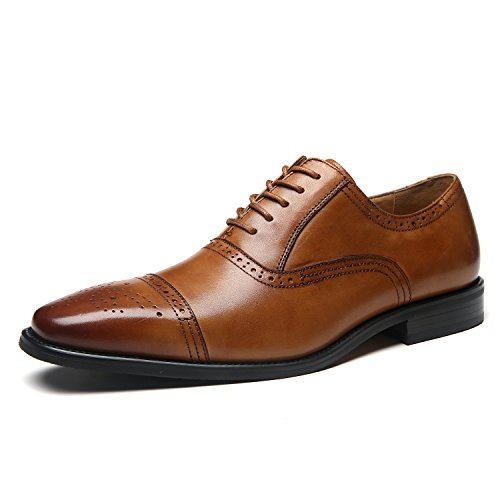 La Milano Mens Leather Cap Toe Lace up Oxford Classic Modern Business Dress Shoes for Men Posh-1-tan 9 M US New York
