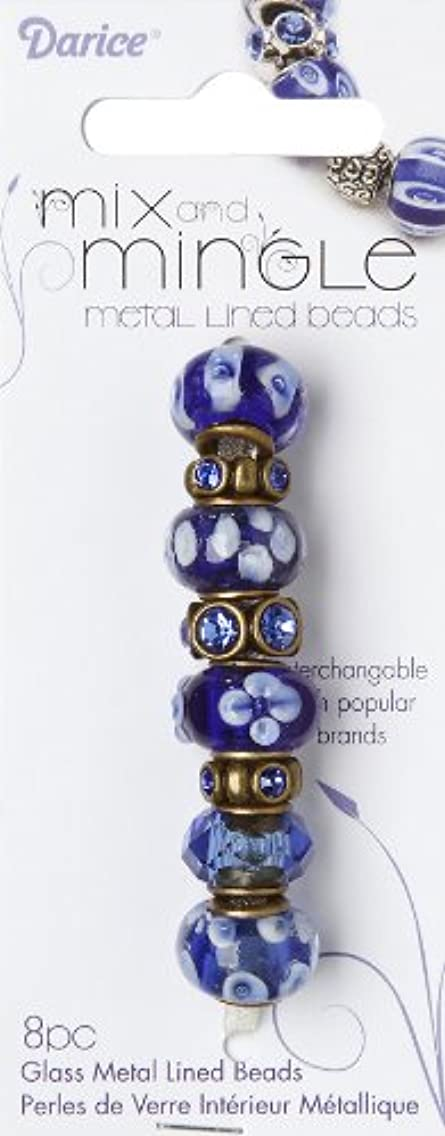 Darice Mix and Mingle Bronze Metal Lined Beads, Sapphire