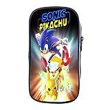 Sonic Estuche de lápiz Sonic Portalápices Sonic Portalápices Sonic Pen Bag Bolsa de papelería Linda Bolsa de lápiz para niños Niñas Bolsas de escuela