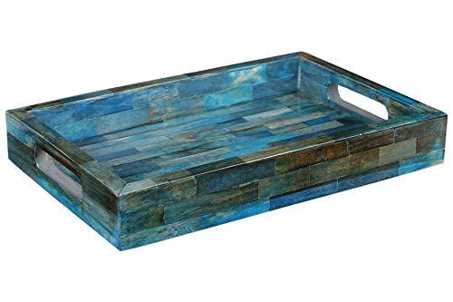 Handicrafts Home Verdigris Trays – Ideal Ottoman Tray – Multipurpose Bone Inlay Serving Decorative Tray 12X8