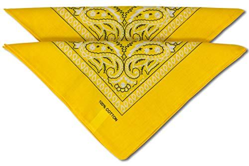 fashionchimp ® Nicki-Halstuch aus 100% Baumwolle im 2er Set, Unisex Bandana, AZO-Frei (Dunkelgelb)
