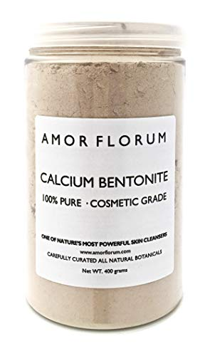 100% ARGILE DE BENTONITE DE CALCIUM - 400 g - par AMOR FLORUM - GRADE COSMETIQUE - Détoxifiant, Nettoyant, Exfolie et donne un éclat à votre visage. Superfin <100 micron, haute pureté, PH6