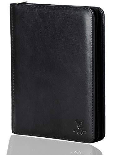MATADOR Konferenzmappe A4 ECHT Leder Schreibmappe mit Reißverschluss für Arbeit Herren Schwarz Dokumentenmappe DIN A4 mit RFID/NFC Schutz Tabletfach Ringbuch-Mappe (Schwarz)