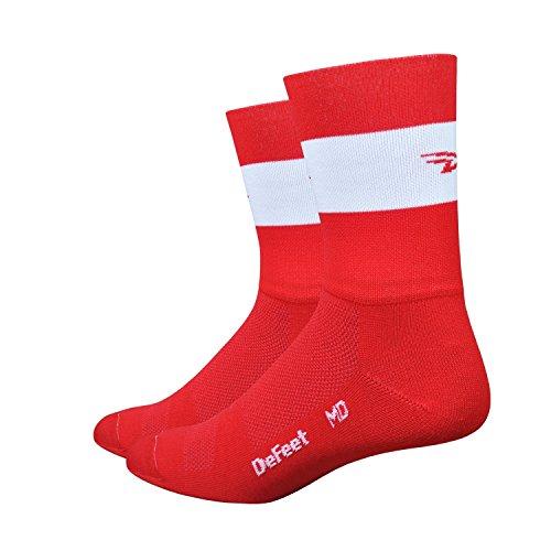 Defeet Aireator Team Double Cuff Socken, Unisex-Erwachsene Herren, rot, Medium