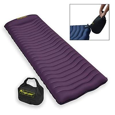 Lightspeed Outdoors Ultralight Flexform Curved Inflatable Air Mat with Pump Bag   Compact Single Air Mattress  The Cradle Air Mat(Eggplant)