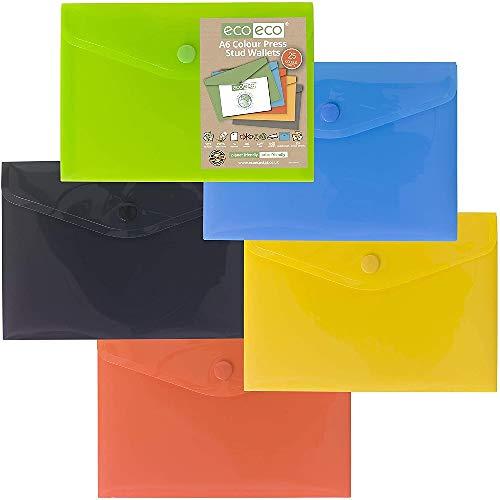 eco-eco eco078x25 A6 50% Reciclada Colores Surtidos Carteras Press Stud (Paquete de 25)