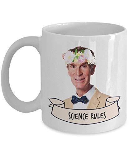 Bill Nye Science Rules Taza de café (Blanco) 11 oz Bill Nye The Science Guy Regalos Mercancía Accesorios Camisa Póster Pegatina Pin Vinilo Calcomanía Ilustraciones