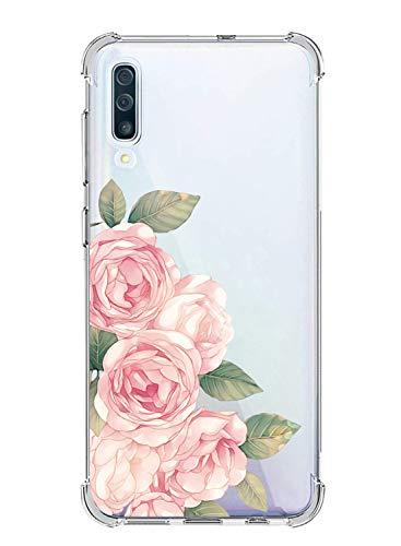Suhctup Coque Compatible avec Samsung Galaxy A10/M10,Étui Houssee de Transparent Motif Mignon [Antichoc Coussin d'air] Crystal Clear Souple Silicone TPU Bumper Protection de Cover Case,Roses 2