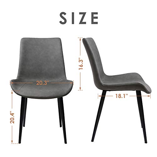 Amzdeal Modern Dining Chairs Set of 2 Pre Assembled Mid Century Side Chairs with Stylish Faux Leather and Painted Steel Legs for Kitchen, Dining Room, Bedroom, Living Room, Gray