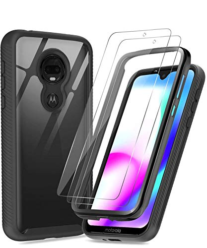 Moto G7 Case, Moto G7 Plus Case with Tempered Glass Screen Protector [2 Pack], LeYi Full-Body Rugged Hybrid Bumper Shockproof Clear Protective Phone Cover Cases for Motorola Moto G7 Black