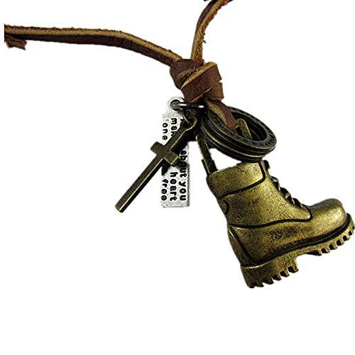 Collar de piel de vaca con colgante de zapatos de aleación ajustable...