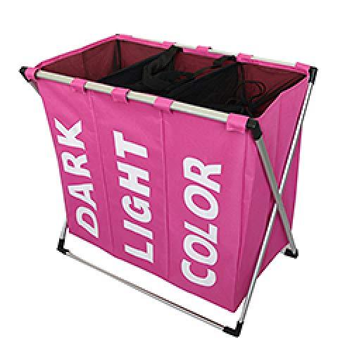 ZYLDM Wasserij mand warm waterdicht opvouwen huis wasmand oxford drie grid wasserette organizer tas grote inklapbare metalen wasmand roze