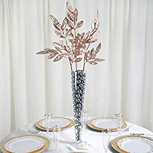 tableclothsfactory 2 pack | 28″ rose gold artificial glittered bay leaf display filler floral decoration for wedding bouquets silk flower arrangements