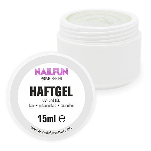 NAILFUN Haftgel 15ml - klar - mittelviskose - säurefrei - mit Fiberglas-Fasern für hervorragende Hafteigenschaften - für UV- und LED geeignet