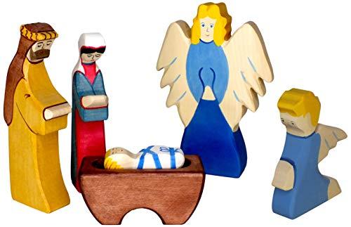 Holztiger Krippenfiguren Set - Holztiger Jesus 2, Josef 2, Maria 2, Engel und Erzengel 4