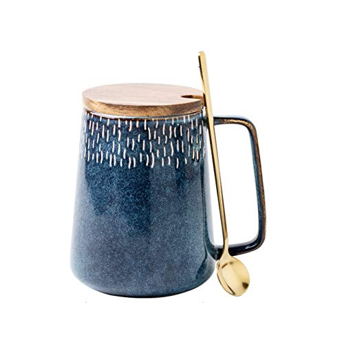 FEIYIYANG Tazas Taza de cerámica de Gran Capacidad Taza de Agua Estrella de Estilo Europeo, Taza Grande de la Leche del Vientre, Taza de Oficina innovadora, Saludable y de Moda 600ml Taza