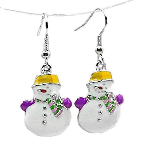 Charm Buddy Happy Snowman Drop Dangly Earrings with Gift Bag Womens Girls Christmas Jewellery