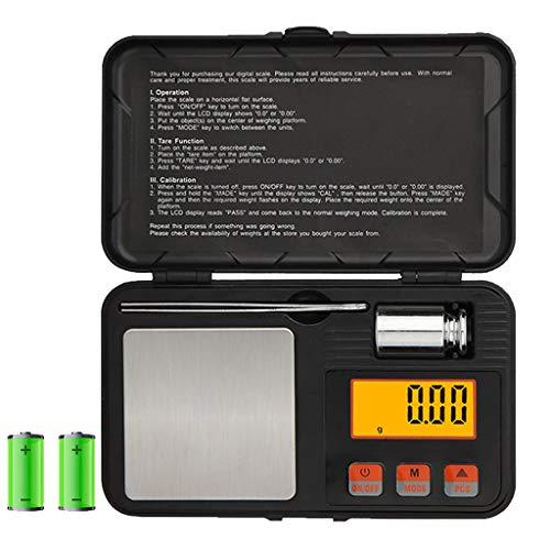 LXYScales Intelligente Intelligente Bilance voor sieraden, digitale scale weegschaal, ultralichte weegschaal met mini LCD-display, 200 g x 0,01 g zonder batterij, zwart 14 x 8,4 x 2,3 cm nauwkeurigheid