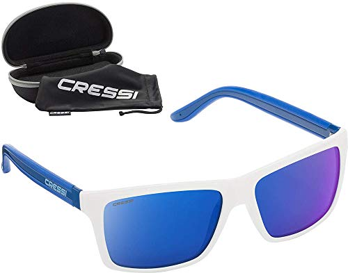 Cressi Rio Sunglasses Gafas de Sol Deportivo Polarizados, Unisex Adultos, White Azul/Lentes espejadas Azul, Talla única