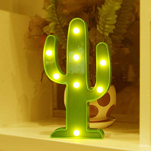 XHSHLID 3D Cactus LED Night Light Cactus Light Romantische tafellamp marmer huis kerst kinderen geschenk kinderen decoratie huis nachtlampje