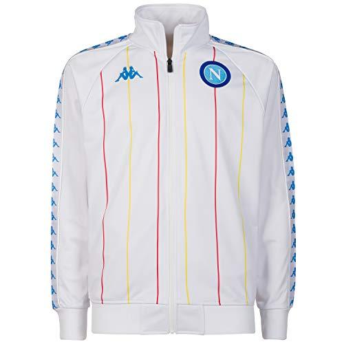 SSC NAPOLI Retro-Sweatshirt für Herren. S Weiß/Blau/Rot/Gelb