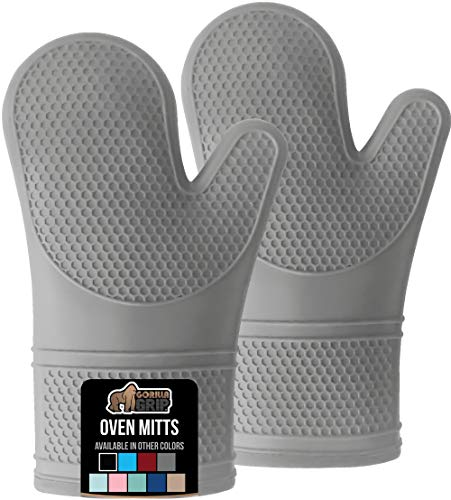 Gorilla Grip Slip Resistant Silicone Oven Mitts with Soft Quilted Lining, Heat Resistant Waterproof...