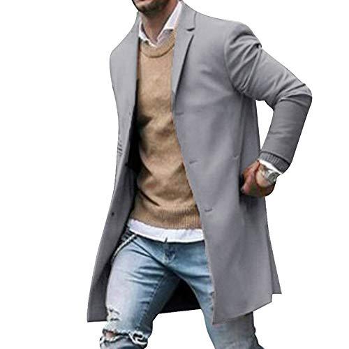 Shujin Herren Winterjacke Mantel Männer Jacke warme Winter Trenchcoat Lange Outwear Button Wollmantel Windjacke mit Reverskragen