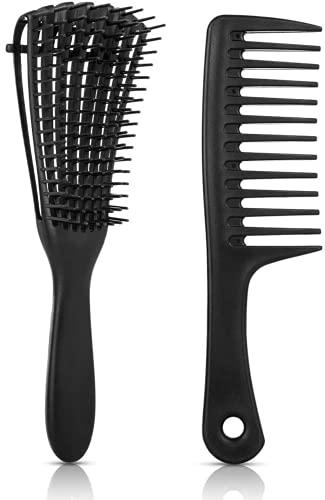 Peigne de coiffure 2 pièces ,Huit Peigne de Griffe + Peigne à dents larges, Cheveux Bouclés Démêlant Peigne,peigne à dents larges pour femmes pour cheveux humides/secs/longs épais bouclés
