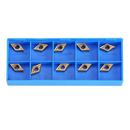 10pcs piezas de insertos de puntas de carburo CNC doradas Juego de inserciones de fresado Herramientas de torneado CCMT060204-HM YBC251 para torno