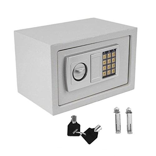 Cassetta di sicurezza con tastiera digitale elettronica 2 chiavi di emergenza, per casa, Ignifuga e Impermeabile, in per casa, ufficio (medio-bianca)