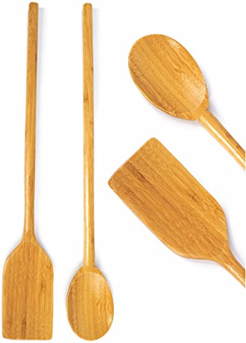 "Extra Long Handled Cooking Utensils - 16"" Inch Wooden Mixing Spoon & Spatula - Stirring Paddle - Organic Bamboo EcoFriendly Compostable Wood Kitchen High Heat Resistant Great For Large Stock Pots"