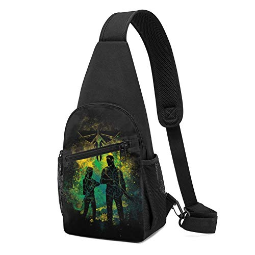 Alomama Last of Us Joel and Ellie Outline Sling Backpack Sling Bag Black Crossbody Daypack Casual Backpack for Travel, Hiking, Cycling, Camping for Women & Men