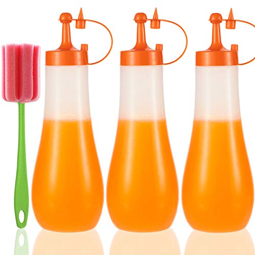 Condiment Squeeze Bottle Sauce Squeeze Squirt Bottle for Kitchen Plastic Syrup Salad Dressing Container Food Dispenser for Oil Ketchup Griddle Hot Sauce Catsup Pancake Art 16 OZ, Pack of 3